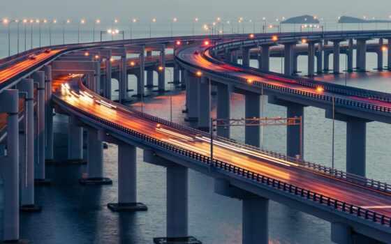 dalian, china, море, мост, кросс, landmark, город, природа