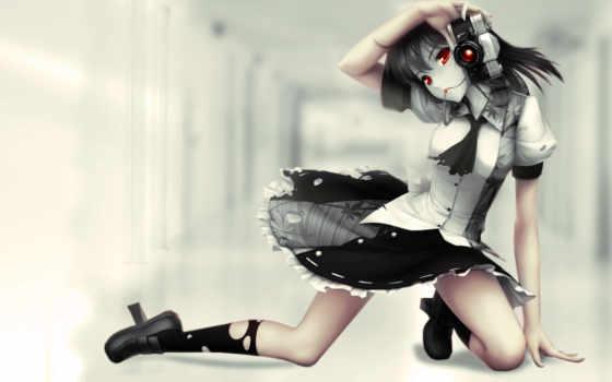 девушка, anime, фотоаппаратом