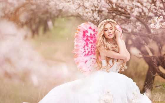 cvety, календарь, blonde, девушка, лунно,