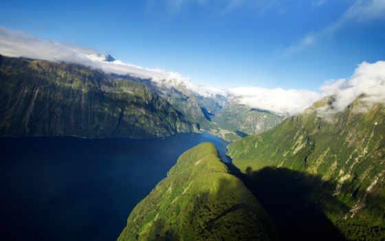 новая, zealand, горы, new, fjord, зеландии, новой, озеро,