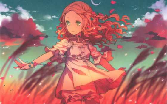 anime, волосами, девушка