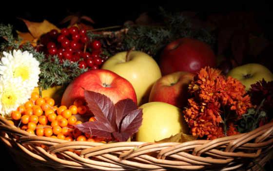 корзина, фрукты, яблоки, листва, осень, cvety, виноград, облепиха, натюрморт, ягоды, фруктов,