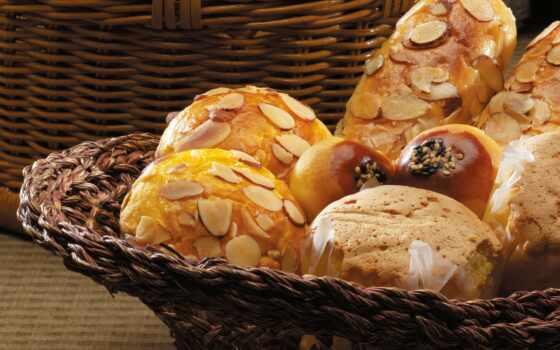 хлеб, корзина, булочка, выпечка, muffin, стиль
