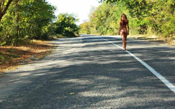 девушка, дорога, дороге