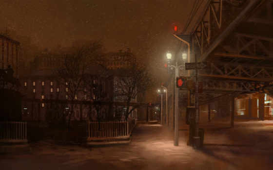 город, же, снег