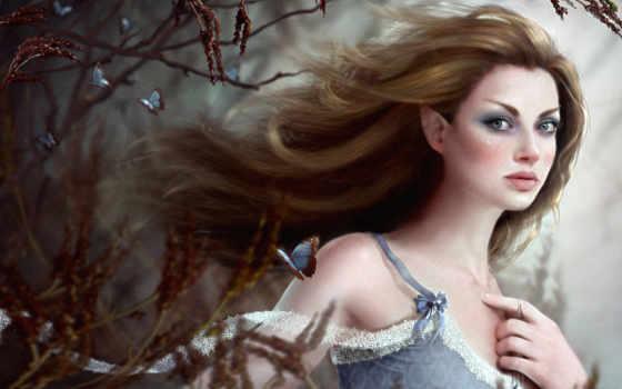 девушка, эльф, artist, sue, дерева, marino, бабочками, флориссия,