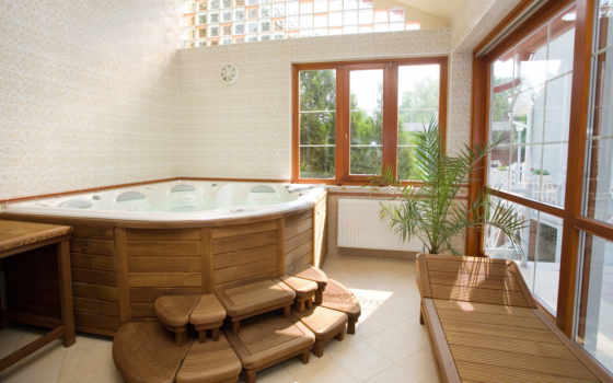 дерево, ванной, комната, ванная, дерева, комнаты, тиковое, джакузи,