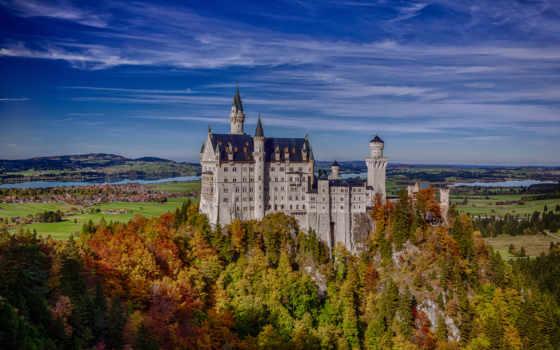 castle, бавария, германия, лес, landscape, нойшванштайн, нойшванштайн,