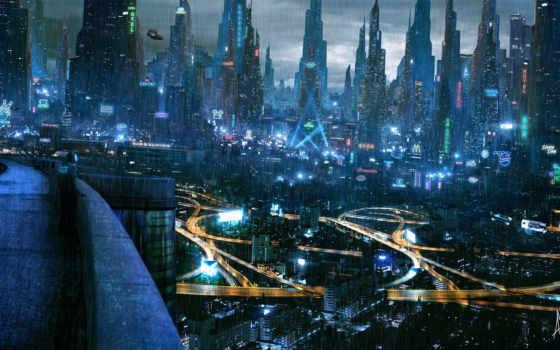 cyberpunk, город, огни