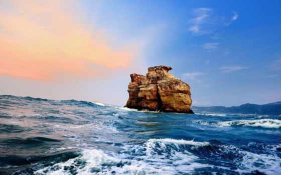 море, rock, oblaka, waves, рассвет, небо, берег, закат, пенка, природа,