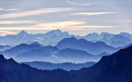 blue, mountains, chỉ, landscape, гор, ми, вершины, горы,