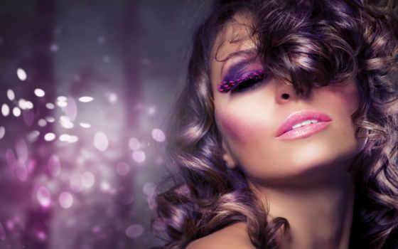 лицо, волосы, девушка, гламур, макияж, локоны, губы, свет, губки, боке, взгляд,