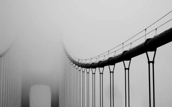 мост, город, туман
