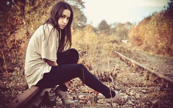 железная, дорога, девушка, brunette, модель,