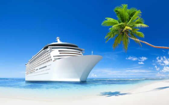 море, пляж, яхта, песок, небо, palm, высоком, качестве, нояб, waves,