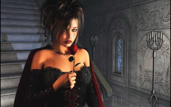 девушка, готические, красной, спускается, cvety, лестнице, розой,