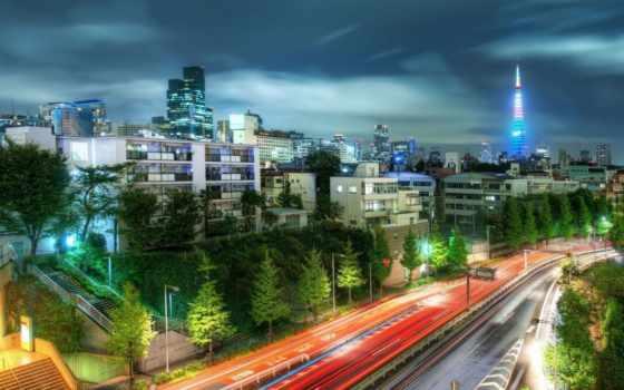 tokio, город, ночь, большой, города, japanese,
