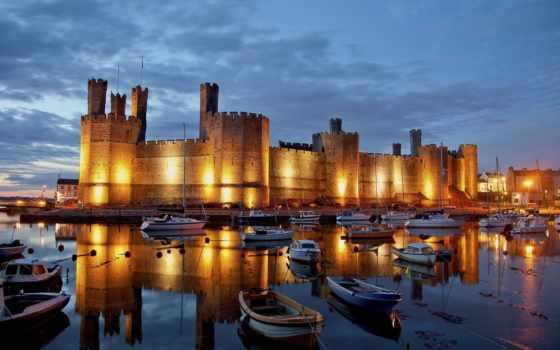castle, caernarfon, wales, великобритании,