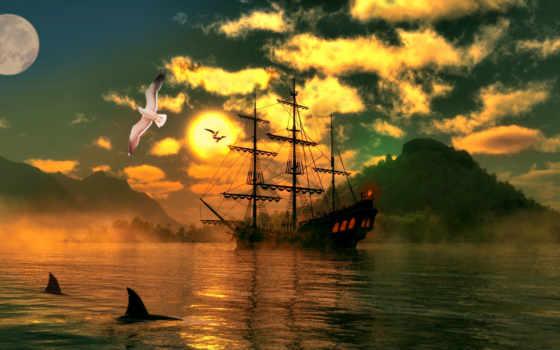 отражение, корабль, photoshop, sail