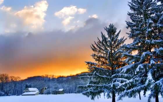 природа, winter, закат