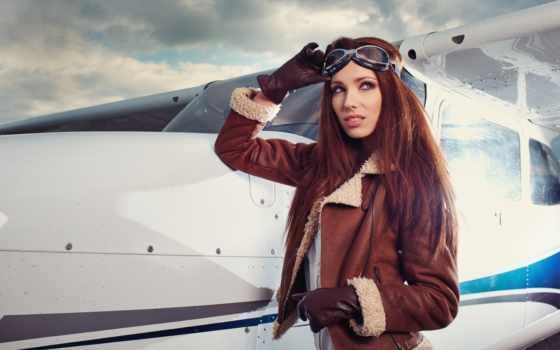 пилот, женщина, airplane, девушка, самолёт, beats, lavish, кофта, стоковые, фотографий,