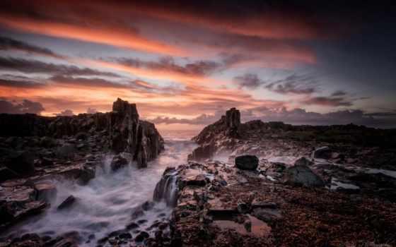 австралия, wales, kiama, south, new, море, bombo, landscape,