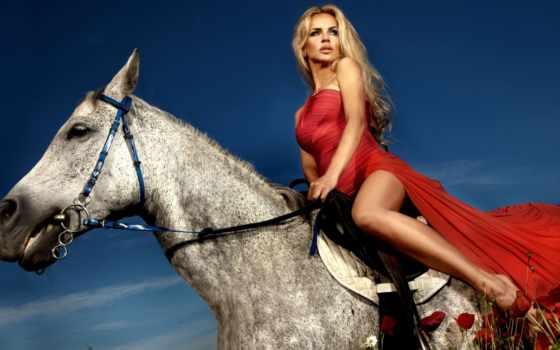 платье, blonde, красном, лошади, девушка, лошадь, сидя, красивая, красное, женщина,