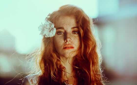 цветы, волосы, женщина, глаза, модель, portrait, веснушка