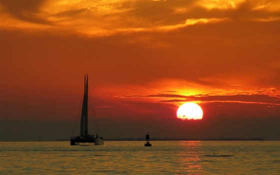 природа, iphone, яхта, закате, море, закат, free,