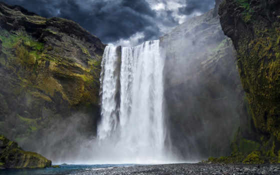 горы, водопад, yosemite, река, oblaka, wallpapershome,