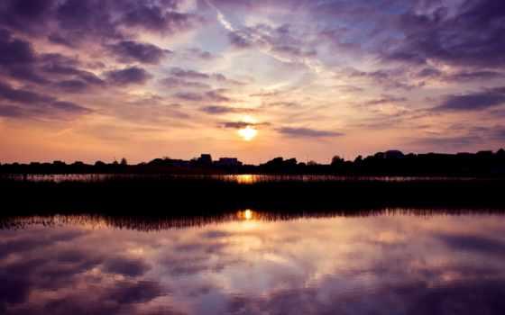 закат, небо, первую, town, sun, вечер, широкоформатные,