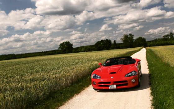 dodge, поле, природа, вайпер, red, машины, oblaka, машина, viper,