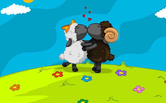 влюбленные, овечки, целуются, овцы, поле, две, белых, овечек, краска, вышивки, black,