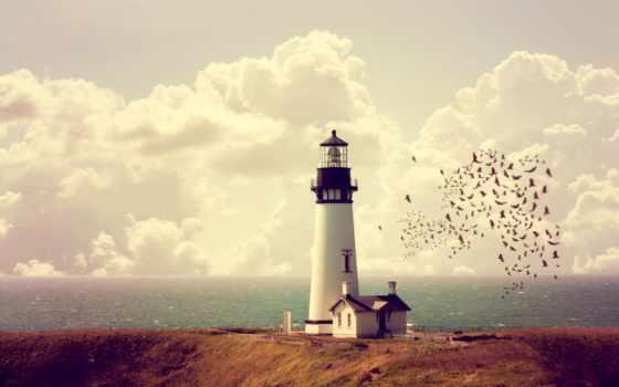 lighthouse, море, oblaka, горизонт, побережье, небо, lodge, моря,
