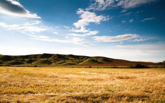 горы, небо, oblaka, трава, природа, поле, summer,