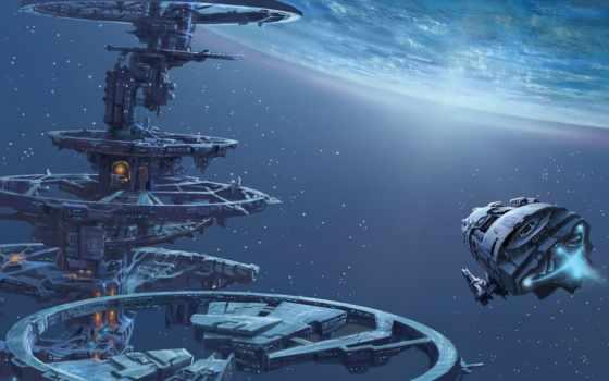 cosmos, planet, станция, корабль, звезды, art, широкоформатные, mks,