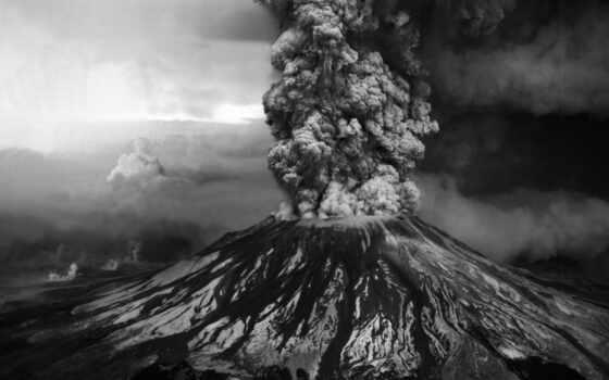 black, white, вулкан, shirokoformatnyi, best, извержение