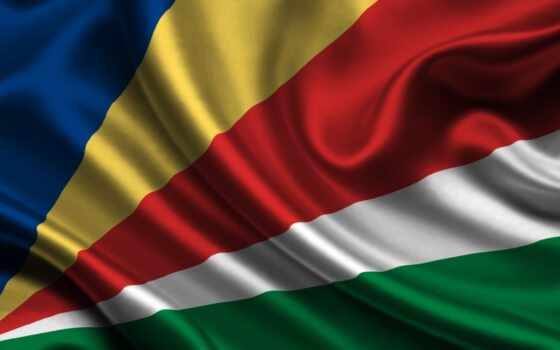 остров, seychelles, флаг, seishelyi, эмблема, satin