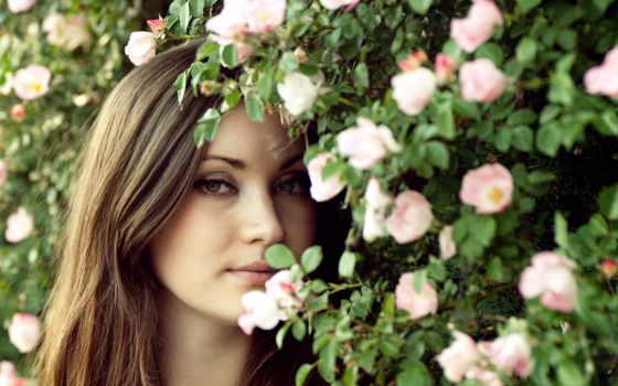 девушка, цветы, за
