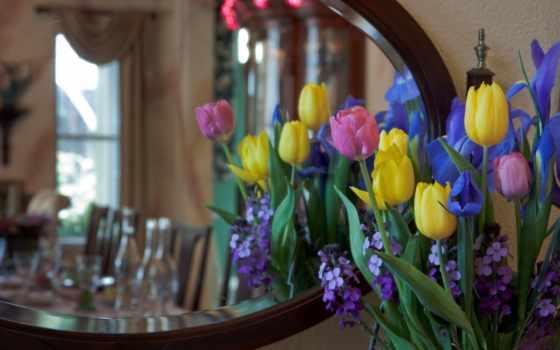 ирисы, букет, тюльпаны