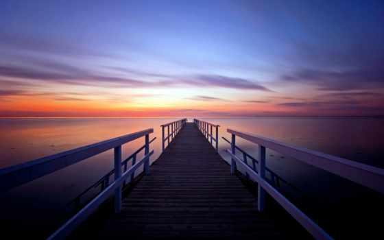 закат, pier, вечер