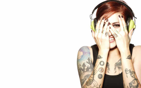 девушка, headphones, татуировки, смущена, white, красивые,