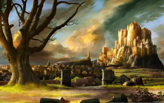 fortress, castle, fantasy, город, art, птицы, дорога, фантастика, категории, девушка, конечно,