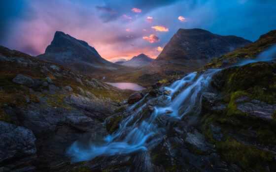 гора, водопад, rock, природа, tapety, water, eric, norwegian, песнь,