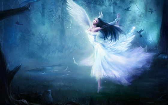 девушка, фэнтези, лес, fantasty, fairy, танец, птицы, ангел, крылья, изображение, ангелы, angels, словно, лебедь, картинок, фабрика, picsfab,