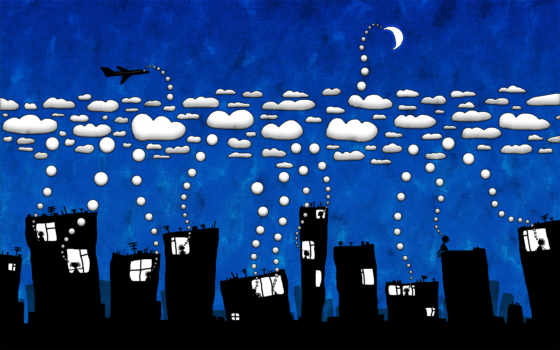 город, ночь, облака