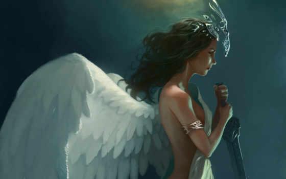 девушка, art, крылья
