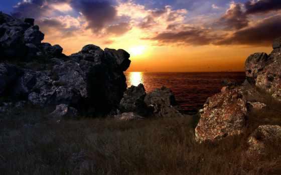 закат, море, моря, монитора, reki, скалы,