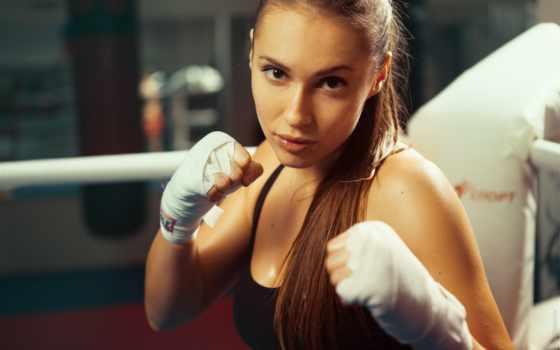 boksör, duvar, kız, kağıtları, yapan, full, йога, sporcular, bayan, topu,