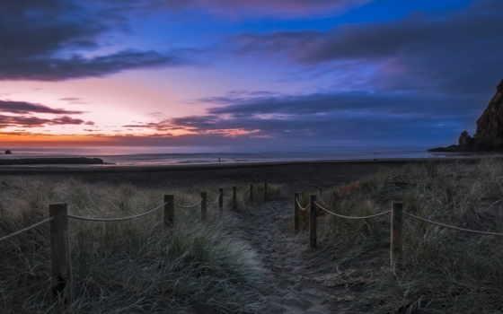 море, берег, вечер, пляж, песок, закат, новая, ocean, rock, zealand, небо,